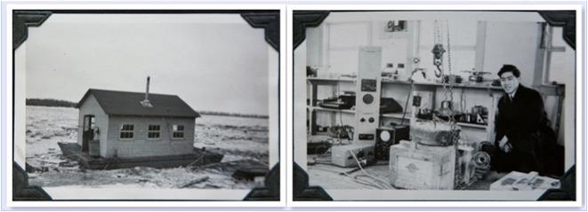 图片 2 渥太华国家研究院水下声波探测实验室,右图中为廖若轩摄于1942年(廖若轩提供)