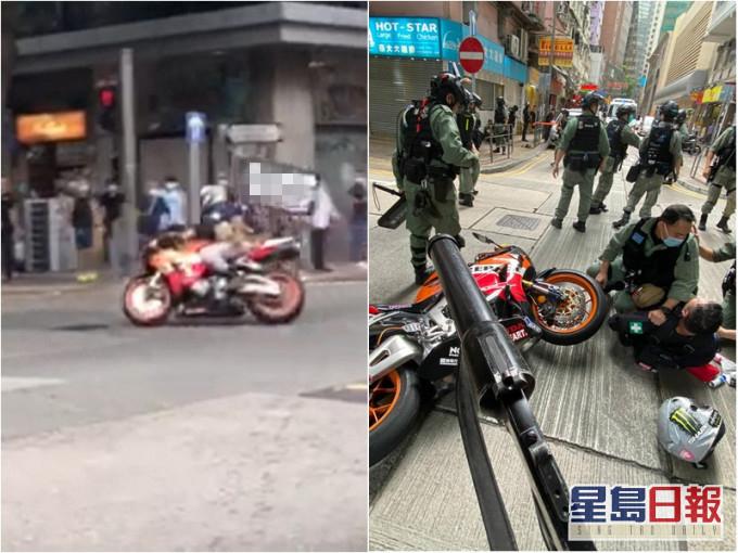 警员将暴徒制服(图片来源:香港《星岛日报》)