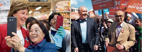中国侨网左图:自由党党魁简蕙芝(左),星期日在高贵林拉票期间,支持者争相合照。右图:新民主党党领贺谨(左),星期日在温哥华拉票,右为该党其中一个华裔候选人周炯华。(加拿大《星岛日报》)